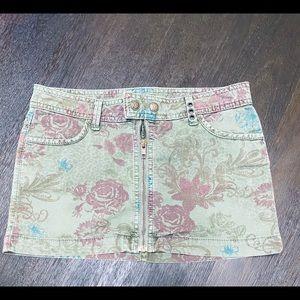 Vintage denim mini skirt green